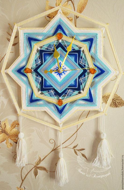 """Часы для дома ручной работы. Ярмарка Мастеров - ручная работа. Купить Часы в детскую настенные море мандала """"Золотые минуты"""" звезда голубой. Handmade."""
