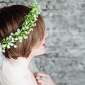 Украшения ручной работы. Ярмарка Мастеров - ручная работа Венок из цветов с гипсофилой, белый венок невесты, свадебный. Handmade.