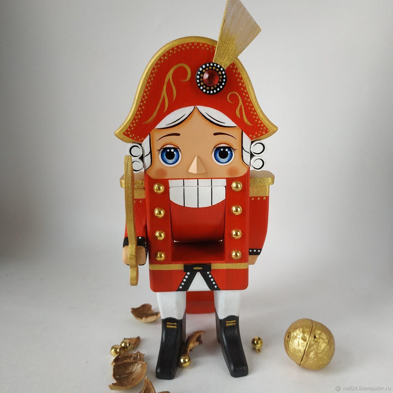 Щелкунчик орехокол 25 см в красном мундире, Портретная кукла, Москва,  Фото №1