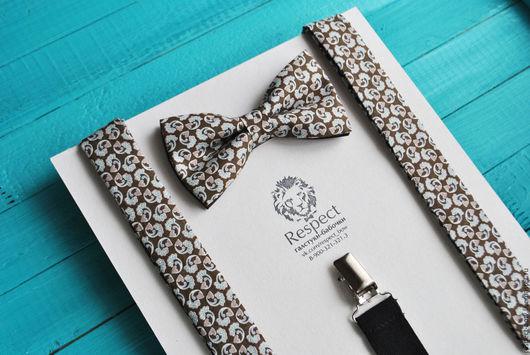 Галстуки, бабочки ручной работы. Ярмарка Мастеров - ручная работа. Купить Бабочка + подтяжки Пейсли / набор коричневая бабочка галстук и помочи. Handmade.