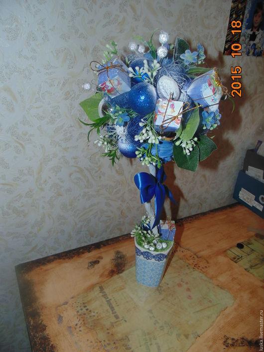 """Топиарии ручной работы. Ярмарка Мастеров - ручная работа. Купить """" В голубых тонах"""". Handmade. Голубой, новогодний подарок"""