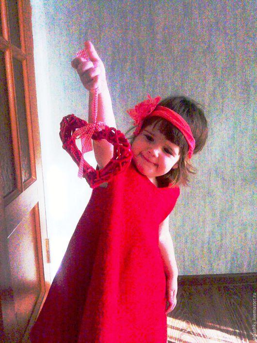 Одежда для девочек, ручной работы. Ярмарка Мастеров - ручная работа. Купить Платье валяное красное для девочки. Handmade. Ярко-красный