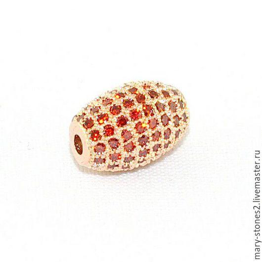 Для украшений ручной работы. Ярмарка Мастеров - ручная работа. Купить Бусина с красными фианитами, красное золото (Milano). Handmade.