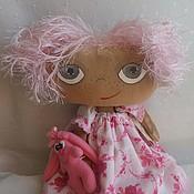 Куклы и игрушки ручной работы. Ярмарка Мастеров - ручная работа Розочка и зайка. Текстильная кукла. Handmade.