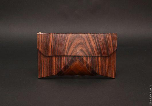 Женские сумки ручной работы. Ярмарка Мастеров - ручная работа. Купить Клатч Geometrika из дерева с кожей. Handmade. Комбинированный, дерево