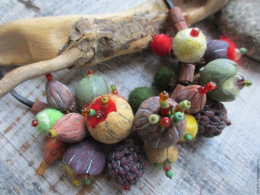 Колье, бусы ручной работы. Ярмарка Мастеров - ручная работа. Купить Колье Осеннее цветочное. Handmade. Бусы, осень, бутоны