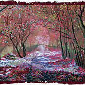 Картины и панно ручной работы. Ярмарка Мастеров - ручная работа Вышитая картина Осенняя аллея. Handmade.
