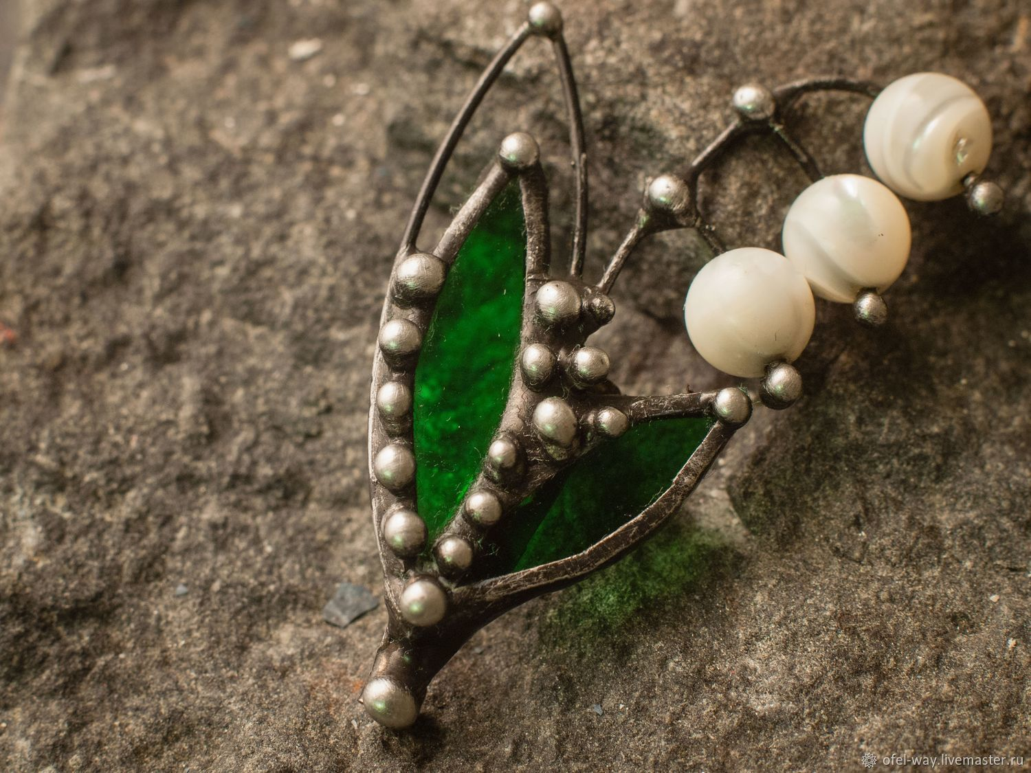 Lily of the Valley brooch (bro-006), Brooches, St. Petersburg,  Фото №1