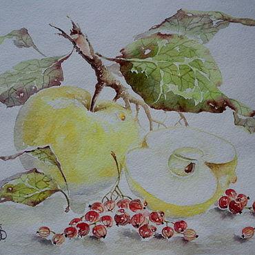Картины и панно ручной работы. Ярмарка Мастеров - ручная работа Картины: яблоко со смородиной. Handmade.