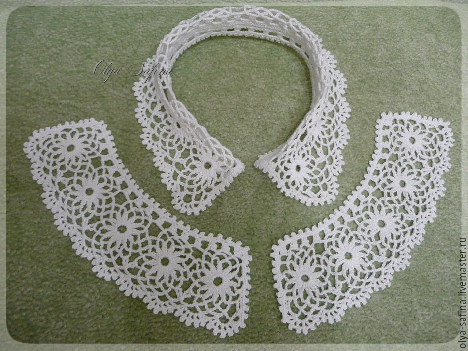 Вязание крючком воротничок и манжеты 35
