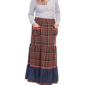 Одежда handmade. Livemaster - original item Skirt plaid boho Old America. Handmade.