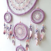 Для дома и интерьера handmade. Livemaster - original item Big purple and pink lace dreamcatcher with crocheted feathers. Handmade.