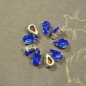 Материалы для творчества handmade. Livemaster - original item 1pc Rhinestones drops 10h6 Czech Sapphire in DACs. Handmade.