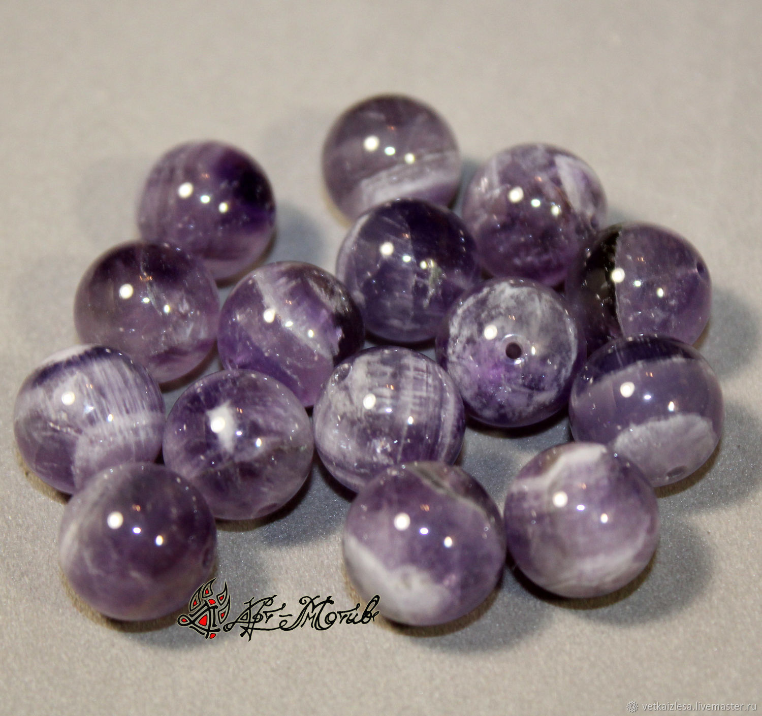 Amethyst beads 12mm (natural stone)