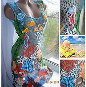 Одежда ручной работы. Ярмарка Мастеров - ручная работа морская туника-платье с рыбками. Handmade.