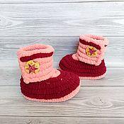 Одежда детская handmade. Livemaster - original item Children`s shoes: knitted plush boots for girls, 12 cm on the foot. Handmade.