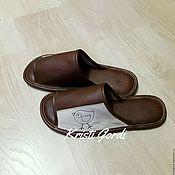 Обувь ручной работы. Ярмарка Мастеров - ручная работа Мужские  кожаные тапочки М-1 с птичкой. Handmade.