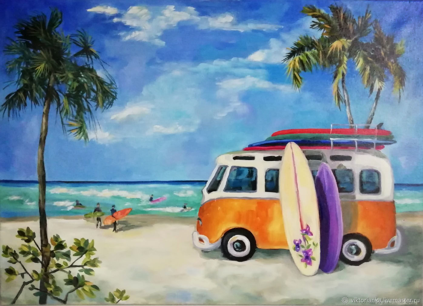 Surfing oil Painting, Pictures, Moscow,  Фото №1