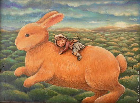 """Детская ручной работы. Ярмарка Мастеров - ручная работа. Купить """"Вперед по макушкам деревьев..."""" картина (дерево,папье-маше). Handmade."""