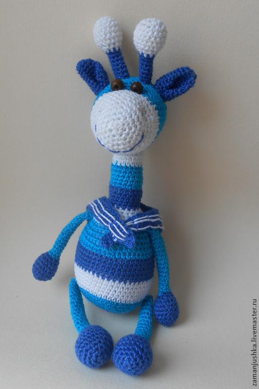 Развивающие игрушки ручной работы. Ярмарка Мастеров - ручная работа. Купить Жираф морячок (погремушка). Handmade. Жираф, синий цвет