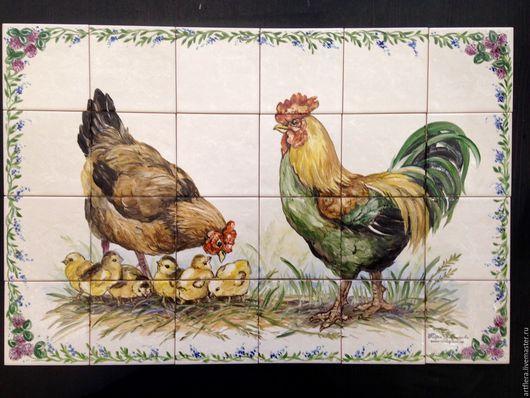 Животные ручной работы. Ярмарка Мастеров - ручная работа. Купить Фартук для кухни Роспись плитки Петух, курица и кукуруза. Handmade.