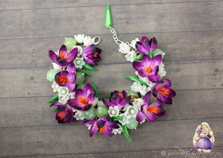"""Браслет """"Весенние цветы"""", Браслет из бусин, Тюмень,  Фото №1"""