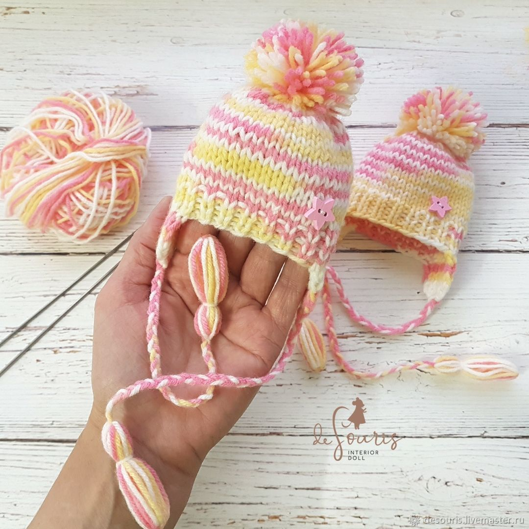 Hat for a doll. pink and yellow. Pink flamingos. Knitted hat. Clothes for dolls. size 22 - 23 cm.
