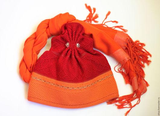 Шапки ручной работы. Ярмарка Мастеров - ручная работа. Купить Шерстяная вязаная шапочка с оригинальным дизайном. Handmade. В полоску
