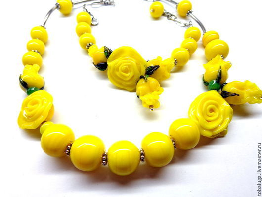 Комплекты украшений ручной работы. Ярмарка Мастеров - ручная работа. Купить Комплект Желтые розы лэмпворк. Handmade. Желтый