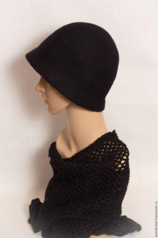 Шляпы ручной работы. Ярмарка Мастеров - ручная работа. Купить Классическая шляпка-клош. Handmade. Черный, шляпка женская, клош