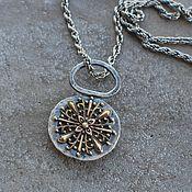 handmade. Livemaster - original item Beryl pendant, silver and brass. Handmade.