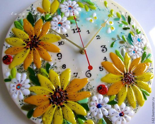 Часы для дома ручной работы. Ярмарка Мастеров - ручная работа. Купить фюзинг, часы из стекла  Божьи коровки. Handmade. Желтый
