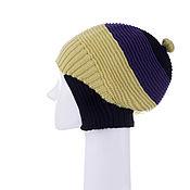 Аксессуары ручной работы. Ярмарка Мастеров - ручная работа Готическая маленькая шапка желтая с фиолетовым и черным. Handmade.