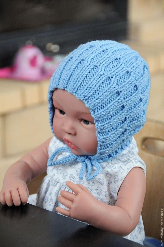 Для новорожденных, ручной работы. Ярмарка Мастеров - ручная работа. Купить Шапочка для малыша. Handmade. Голубой, шапочка для новорожденных