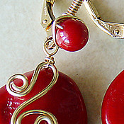 Украшения handmade. Livemaster - original item Earrings are filled with gold and coral.. Handmade.