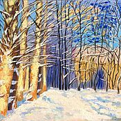 Pictures handmade. Livemaster - original item Winter landscape: In winter Park poplar. Handmade.