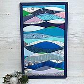 Картины и панно handmade. Livemaster - original item Blue wave, a picture-panel made of fabric in the kinusaiga technique. Handmade.