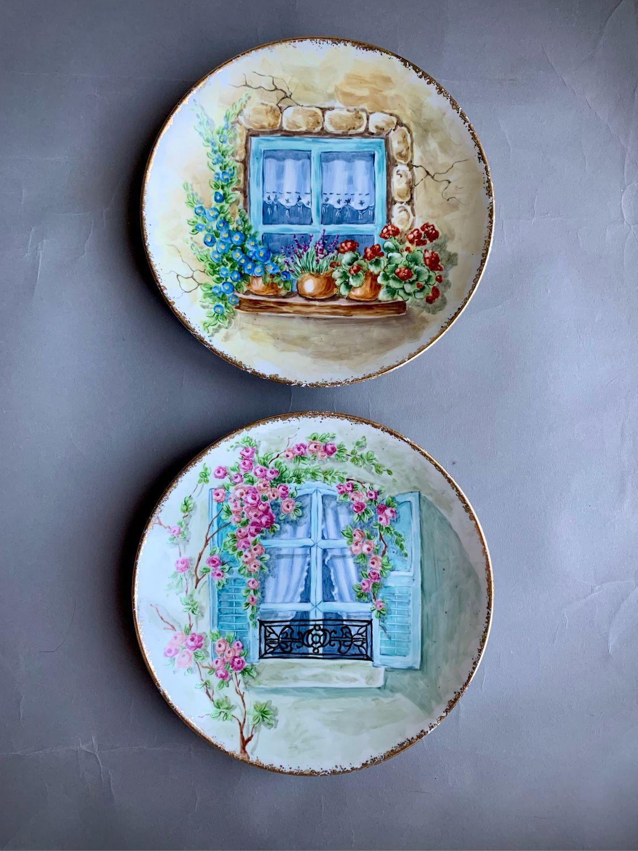Роспись фарфора. Сет настенных тарелок «Окна», Тарелки, Калуга,  Фото №1