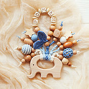 Работы для детей, handmade. Livemaster - original item Rodent-elephant with the name of your baby blue-blue. Handmade.