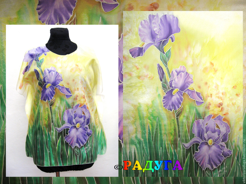 Studio rainbow, Studio rainbow, Victoria, copyright batik, cold batik, painting on fabric, silk painting, irises, irises tunic, tunic made of silk, purple iris, silk clothing, silk