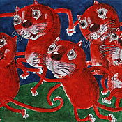 Картины и панно handmade. Livemaster - original item Dance of the red cats watercolor work. Handmade.