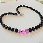 Украшения handmade. Livemaster - original item Necklace made of black and crimson spinel cube and 925 silver. Handmade.