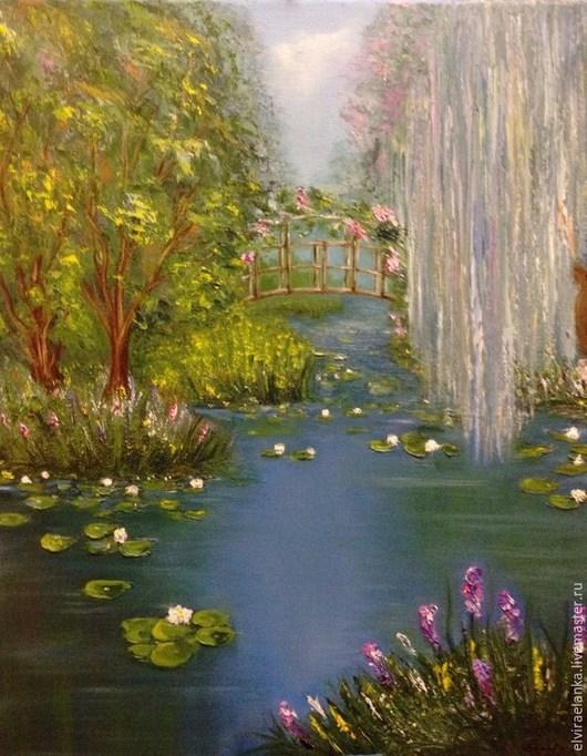 """Пейзаж ручной работы. Ярмарка Мастеров - ручная работа. Купить """"Заросший пруд с кувшинками"""". Handmade. Разноцветный, пейзаж маслом, озеро"""