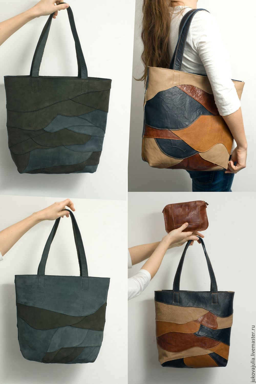 Купить Сумка из лоскута разноцветная из натуральной кожи белая синяя мятная - сумка, сумка женская
