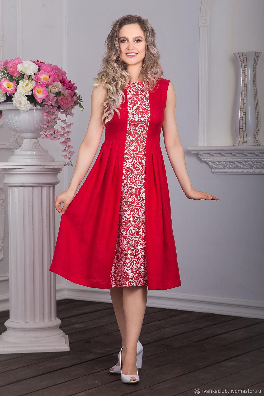 Dress linen red maiden, Dresses, Omsk,  Фото №1