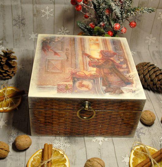 """Корзины, коробы ручной работы. Ярмарка Мастеров - ручная работа. Купить Большой короб-шкатулка для хранения  """"Рождественская сказка"""". Handmade."""