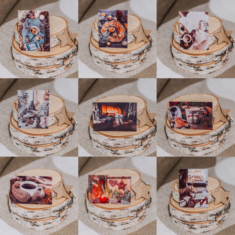 Набор уютных зимних карточек, наклеек 6.5х9. Набор Мини открыток, Открытки, Павлово,  Фото №1