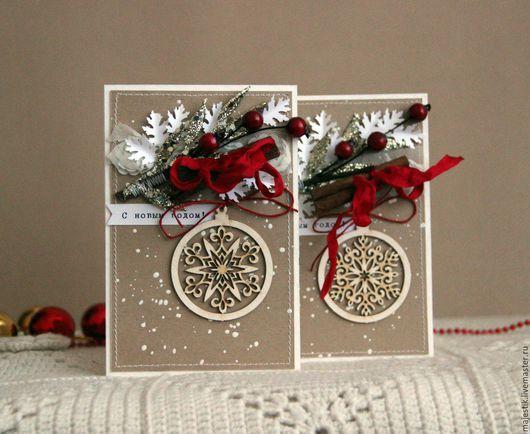 Открытки к Новому году ручной работы. Ярмарка Мастеров - ручная работа. Купить Новогодние открытки. Handmade. Ярко-красный