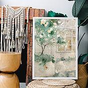 Картины и панно handmade. Livemaster - original item Large watercolor painting Rose bush 60h42 cm (emerald gray white). Handmade.