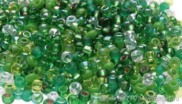 10g Miyuki 11/0 mix 03 shades of green round Japanese seed beads, Beads, Chelyabinsk,  Фото №1